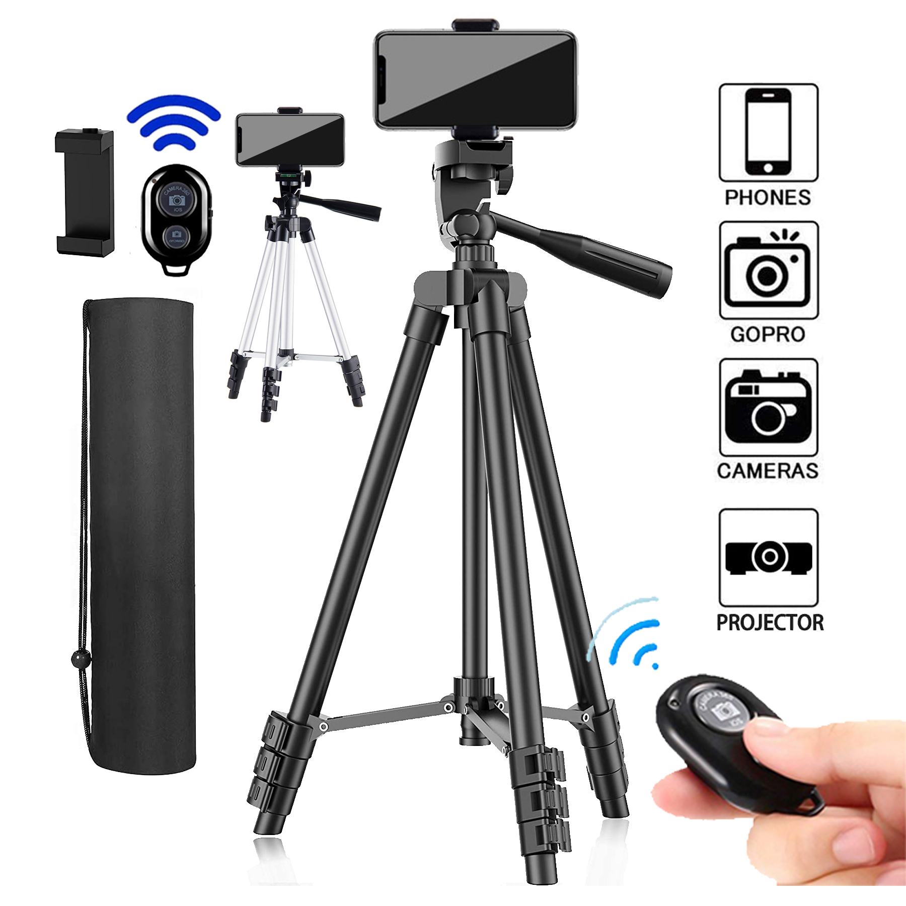 DSLR Flexible Tripod Extendable Travel Lightweight Stand Carry Bag Bluetooth Remote Cell Phone Mount Camera Gopro Live Youtube