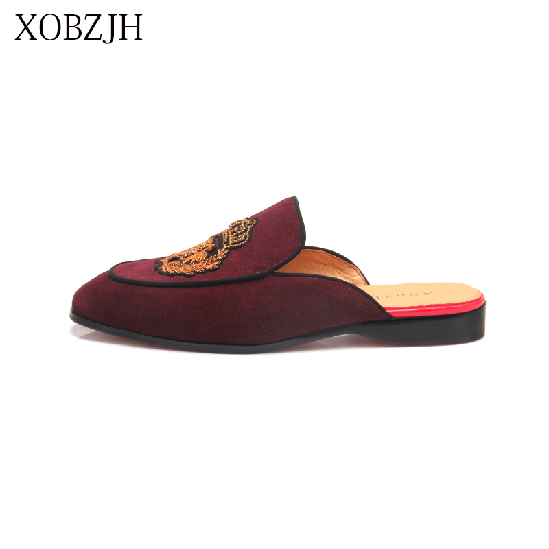 XOBZJH 2019 New Men's Shoes Handmade Leisure Style Man Summer Party Shoes Men Flats Leather Loafers Red Big Size Shoes