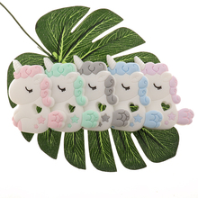 Fkisbox 10PCS Silicone Unicorn Baby Teether BPA Free Rodent Infant Teething Pendant Pacifier Clips Cartoon Animal Mordedor Gifts