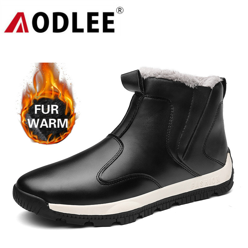Boots Men Waterproof Fashion Leather Mens Boots Comfortable Men Shoes Ankle Boots Plush Winter Warm Men Snow Boots Size 39~48