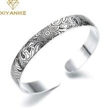 XIYANIKE Neue Mode 925 Sterling Silber Manschette Armband Charme Frauen Vintage Lotus Blume Religiöse Partei Schmuck Einstellbare