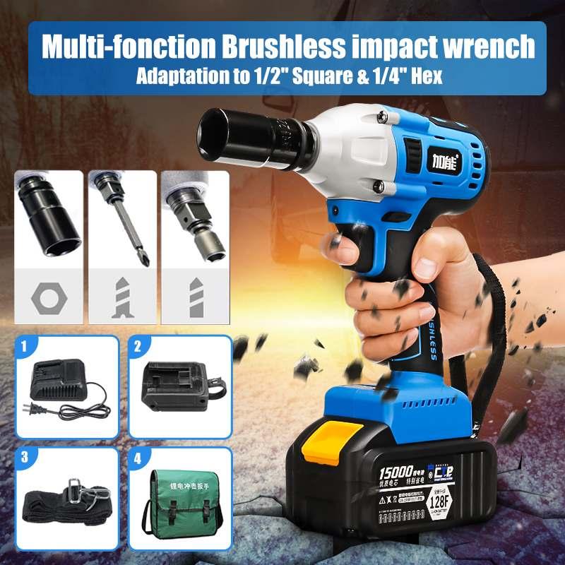 100-240V AC sans brosse sans fil clé électrique couple Max 340 Nm clé à chocs électrique 1/2 carré et 1/4 Hex outils électriques