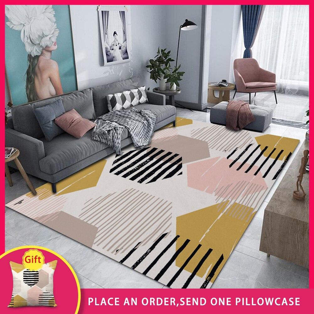 FYMX Geometric Creativity Rectangular Carpets Foliage Landscape Large Rug For Restaurant Lobby Living Room