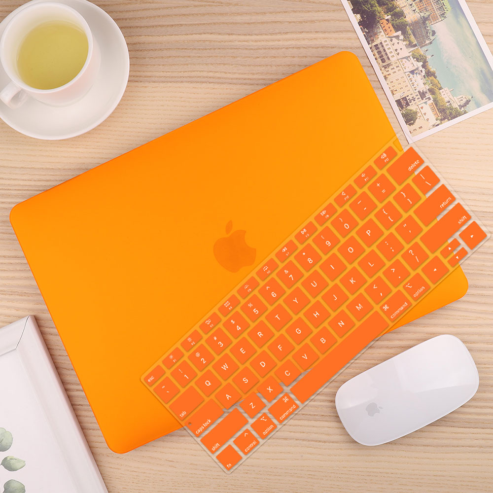 Чехол для ноутбука 4 в 1 для MacBook Air 11, 13 дюймов и Pro retina 13,3, 15,,,, кристально Матовый Жесткий чехол для клавиатуры - Цвет: Matte Orange
