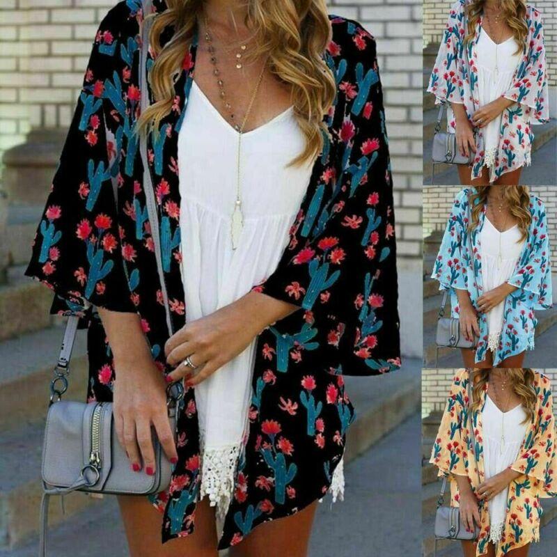 New 2020 Summer Women Lady Boho Beach Cover Up Lace Floral Cardigan Kimono Chiffon Blouse