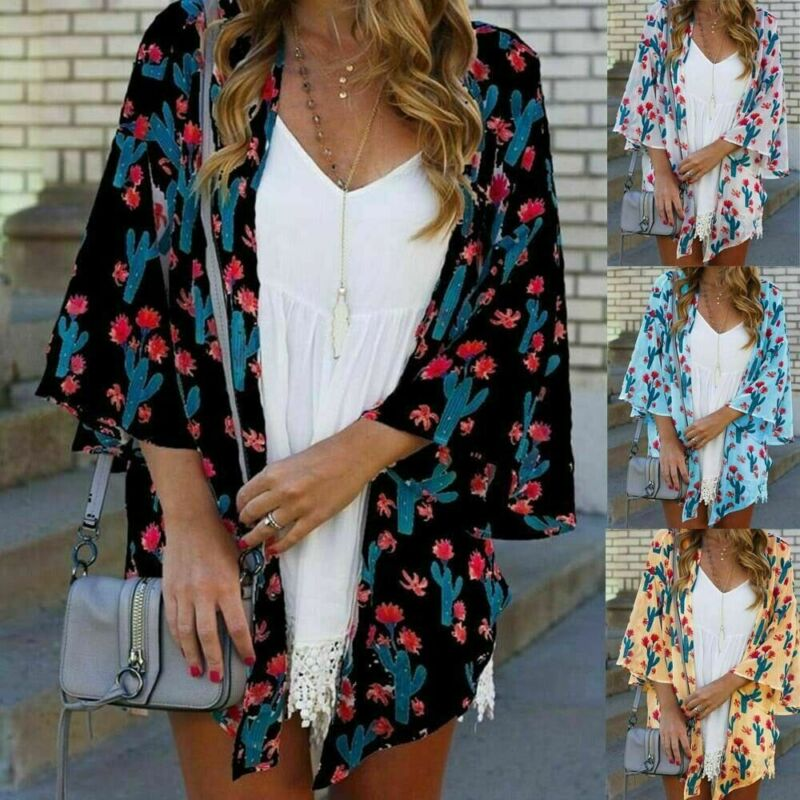 Women Lady Boho Beach Cover Up Lace Floral Cardigan Kimono Chiffon  Blouse