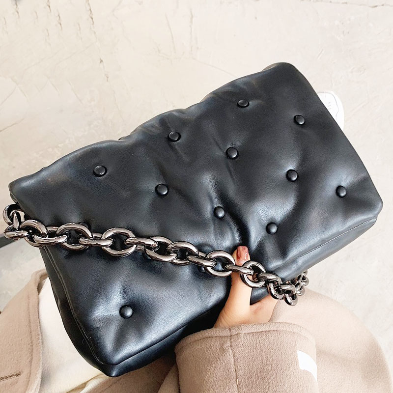 Branded Women's Shoulder Bags 2020 Denim Quality Thick Metal Chain Shoulder Purses And Handbag Women Clutch Bags Ladies Hobo Bag|Shoulder Bags| - AliExpress