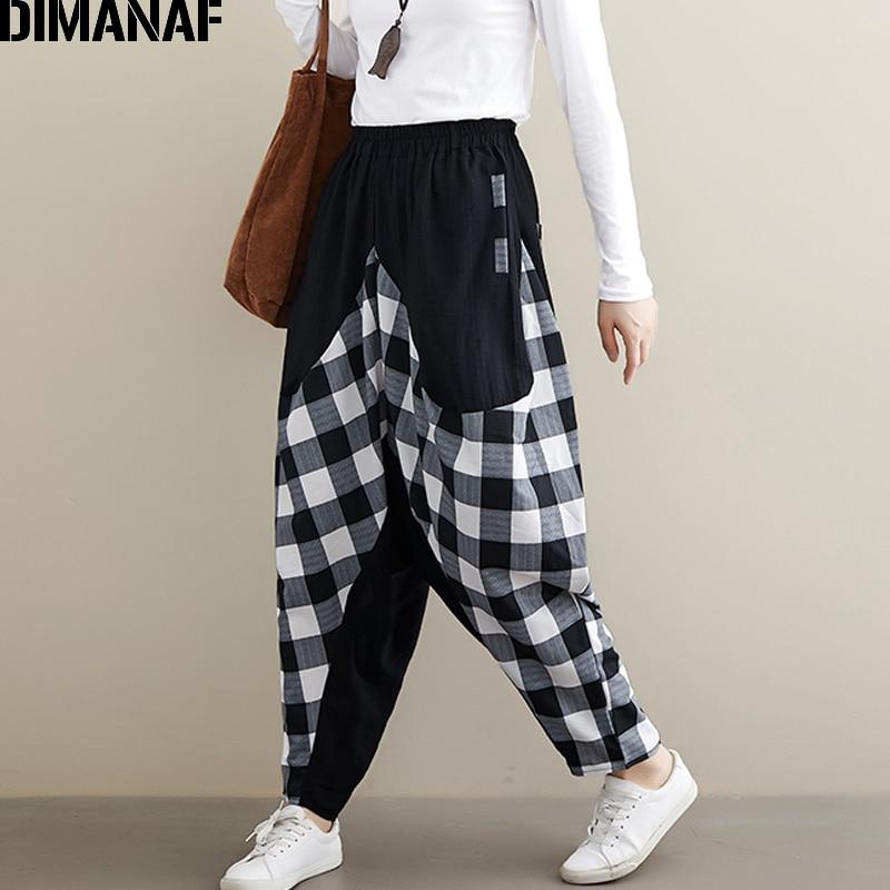 DIMANAF Plus Size Women Pants Cotton Autumn Winter Spliced Plaid Black Loose Big Size Trousers Pantalones Female Long Pants 2019 in Pants amp Capris from Women 39 s Clothing