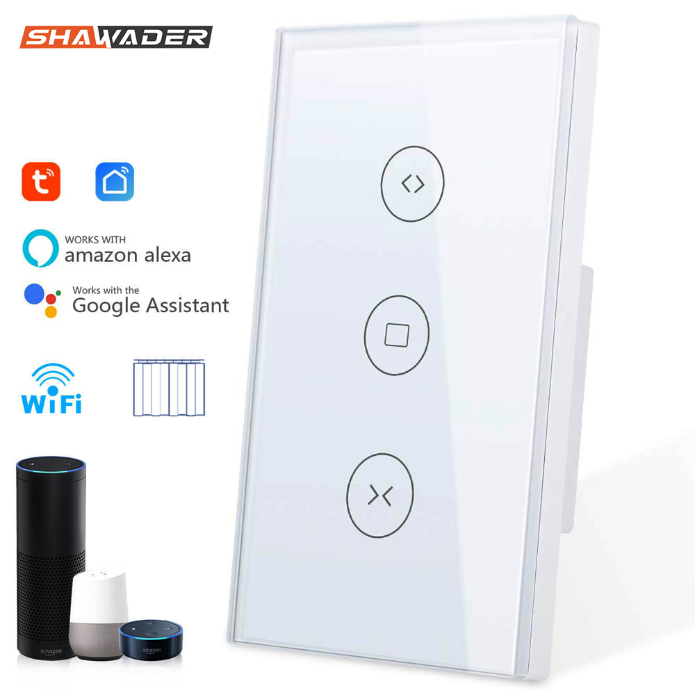 Smart WiFi Curtain Switch Touch Glass Panel Remote Timer Control Motorized Electrical Roller Blinds work with Alexa Google Home