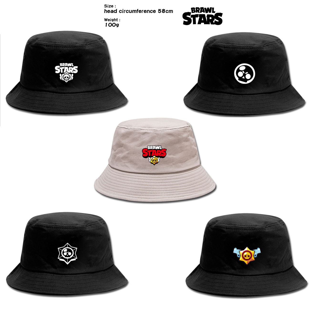 Brawling Game Stars Hat Toys Unisex Bucket Hat Fisherman Caps Leisure Cartoon Embroidery Bob Caps Cotton Outdoor Beach Sun Hats