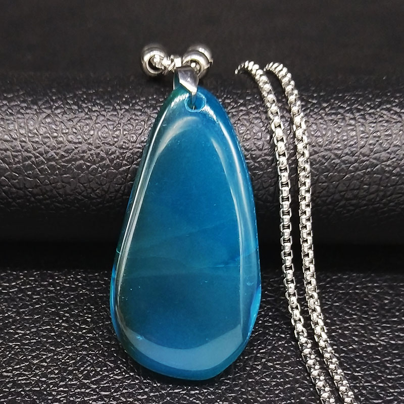 Blue Natural Stone Stainless Steel Long Necklace Women Charm Necklace Jewelry joyas de acero inoxidable para mujer NG33S04