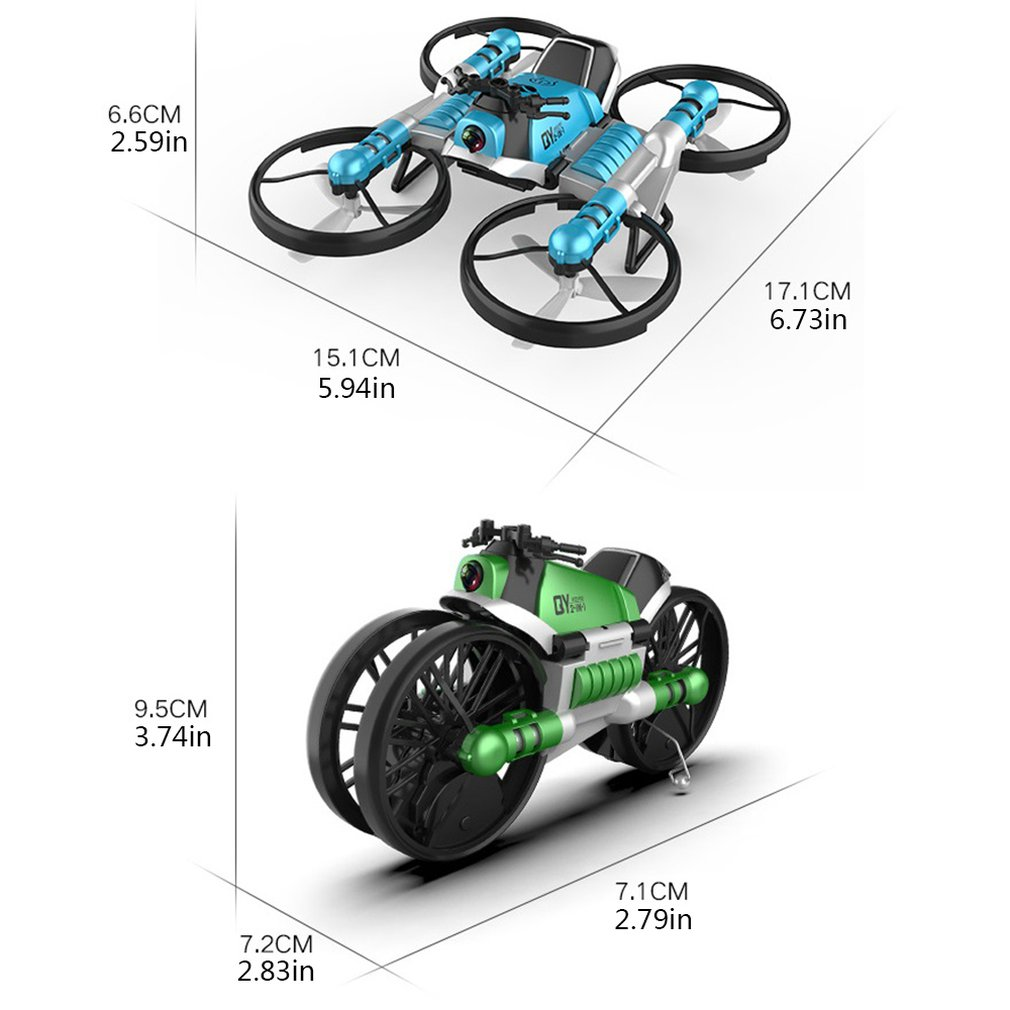 Two god Shape Problem Turn To Remote Control Deformation Motorcycle Folding Four axis Aircraft Two in one Aircraft Toy