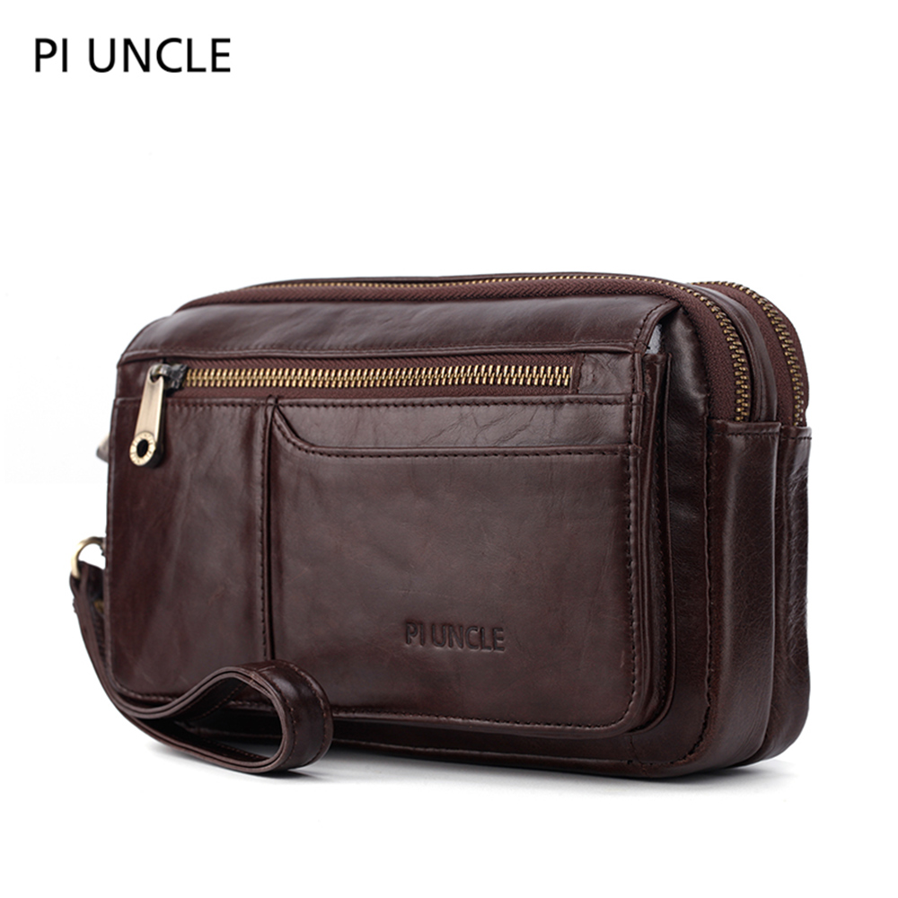 Men's Genuine Leather Fashion Phone Wallet Long Male Large Capacity Bag For Documents Multifunctional Purse Soft