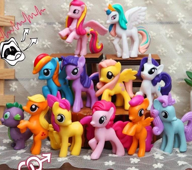 Упаковка из 12 шт игрушки My Little Pony Комплект дружба-это чудо всех цветов радуги; Платье с Сумеречной искоркой серии «редкость ПВХ фигурки Кукл...