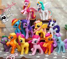 Pacote de 12 meu pequeno pônei brinquedos conjunto amizade é arco-íris mágico traço crepúsculo faísca pinkie torta raridade figuras de ação pvc bonecas