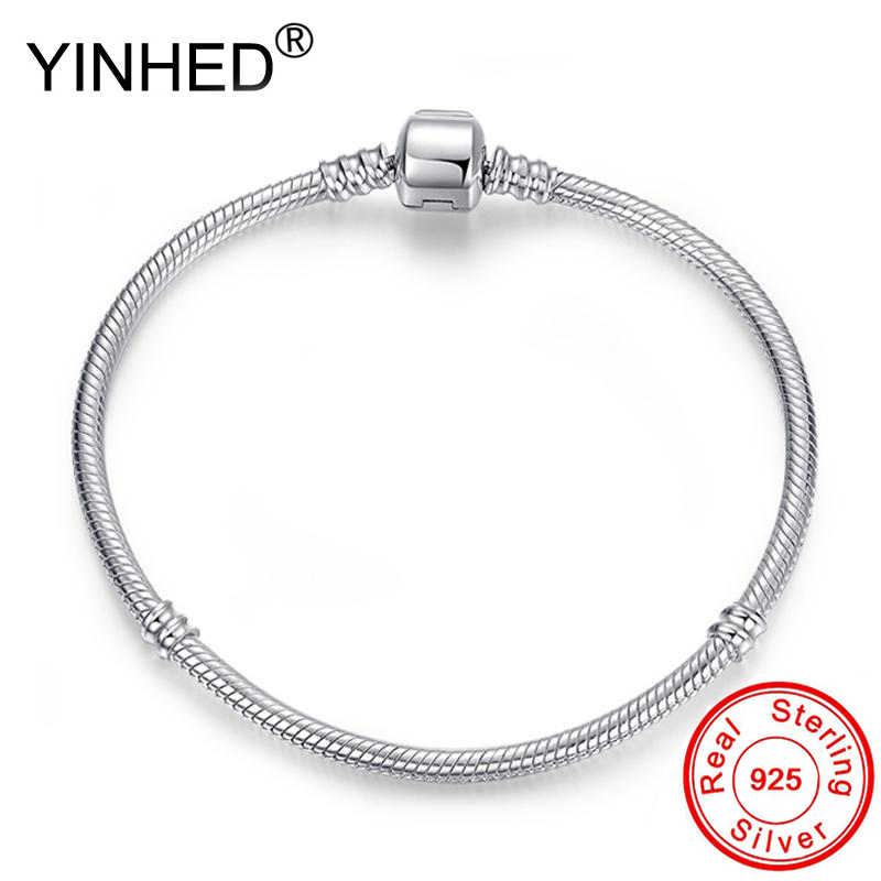 Lose Money Sale! YINHED Original 925 Sterling Silver Snake Chain Bracelet Charm Bead DIY Jewelry Pan Bracelet Women Gift ZB040