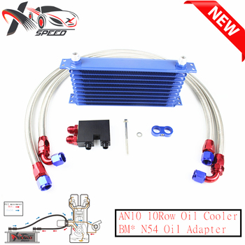 Universal 10 row oil cooler AN10 10 rows engine radiator For BM* N54 135i 335i oil filter adapter