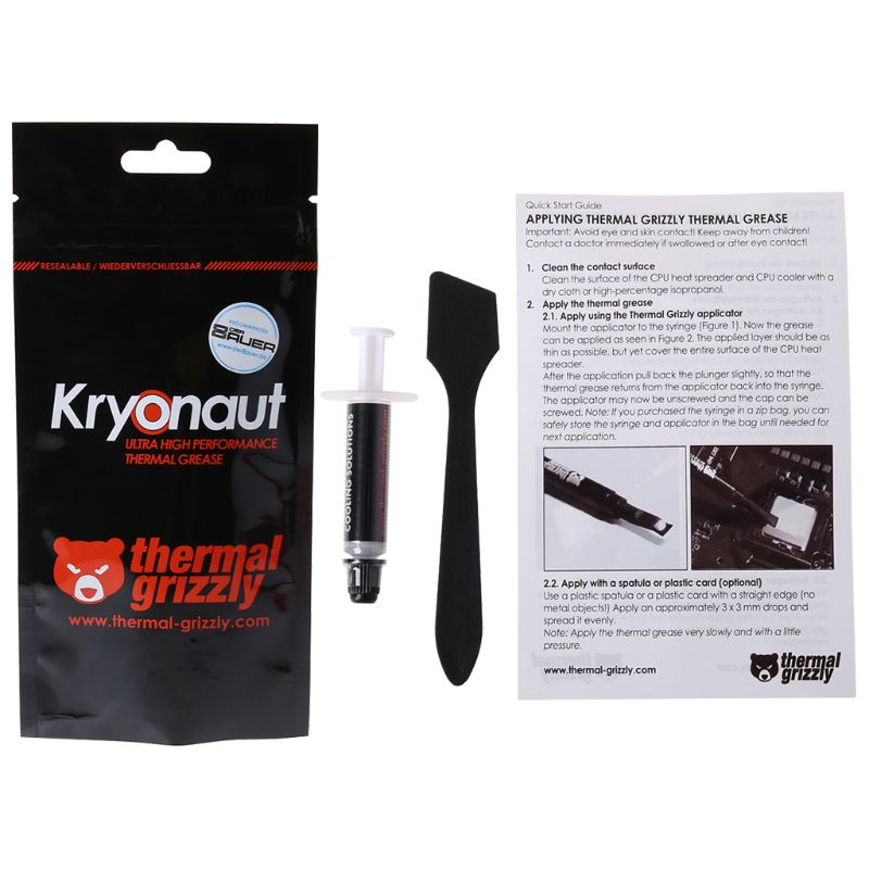 Thermal Grizzly Kryonaut 1g for CPU AMD Intel Processor Heatsink Fan Compound Cooling Thermal Paste Cooler Thermal Grease