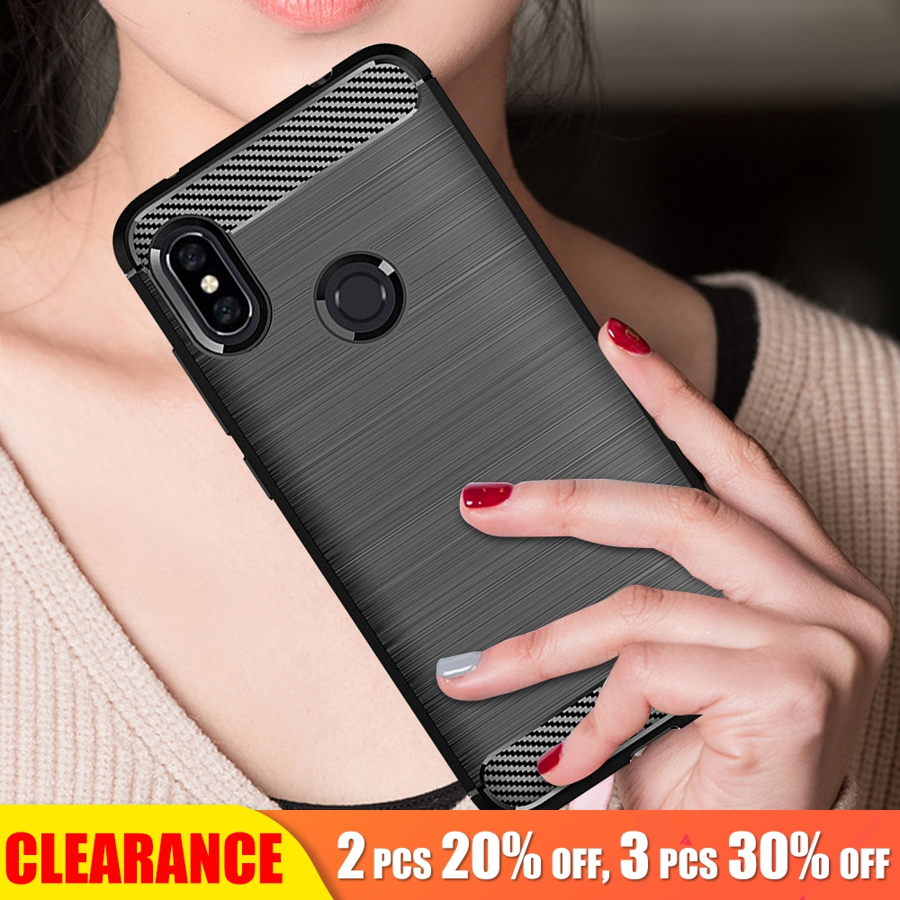 Clearance For Xiaomi Redmi Note 6 Pro Case Soft TPU Carbon Fiber Texture Case For Redmi Note 6 Pro Silicone Shockproof Cover in Fitted Cases from Cellphones Telecommunications