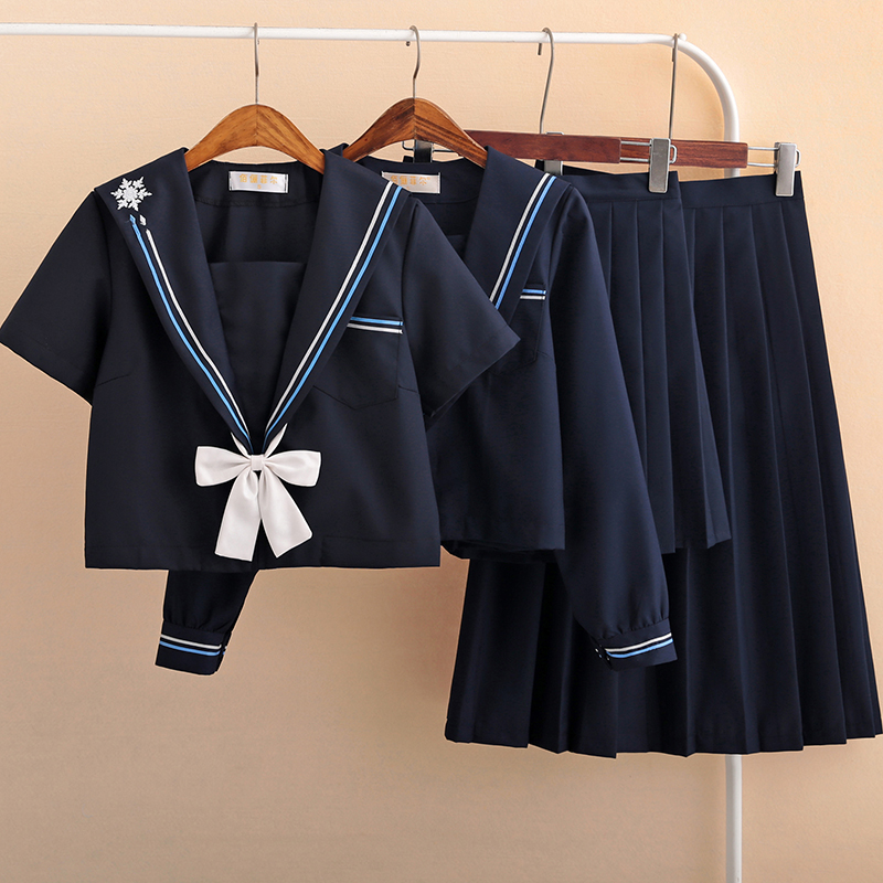 Preppy Style Black Sailor Uniform Snowflake Embroidery Japanese Short Long Sleeved Tops Skirt JK Uniforms Student Suit