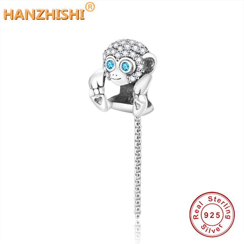 Fit Original Pandora Charm Bracelet Authentic 925 Sterling Silver Bead Sparkling Monkey Charm Chain DIY Jewelry For Women Gift(China)
