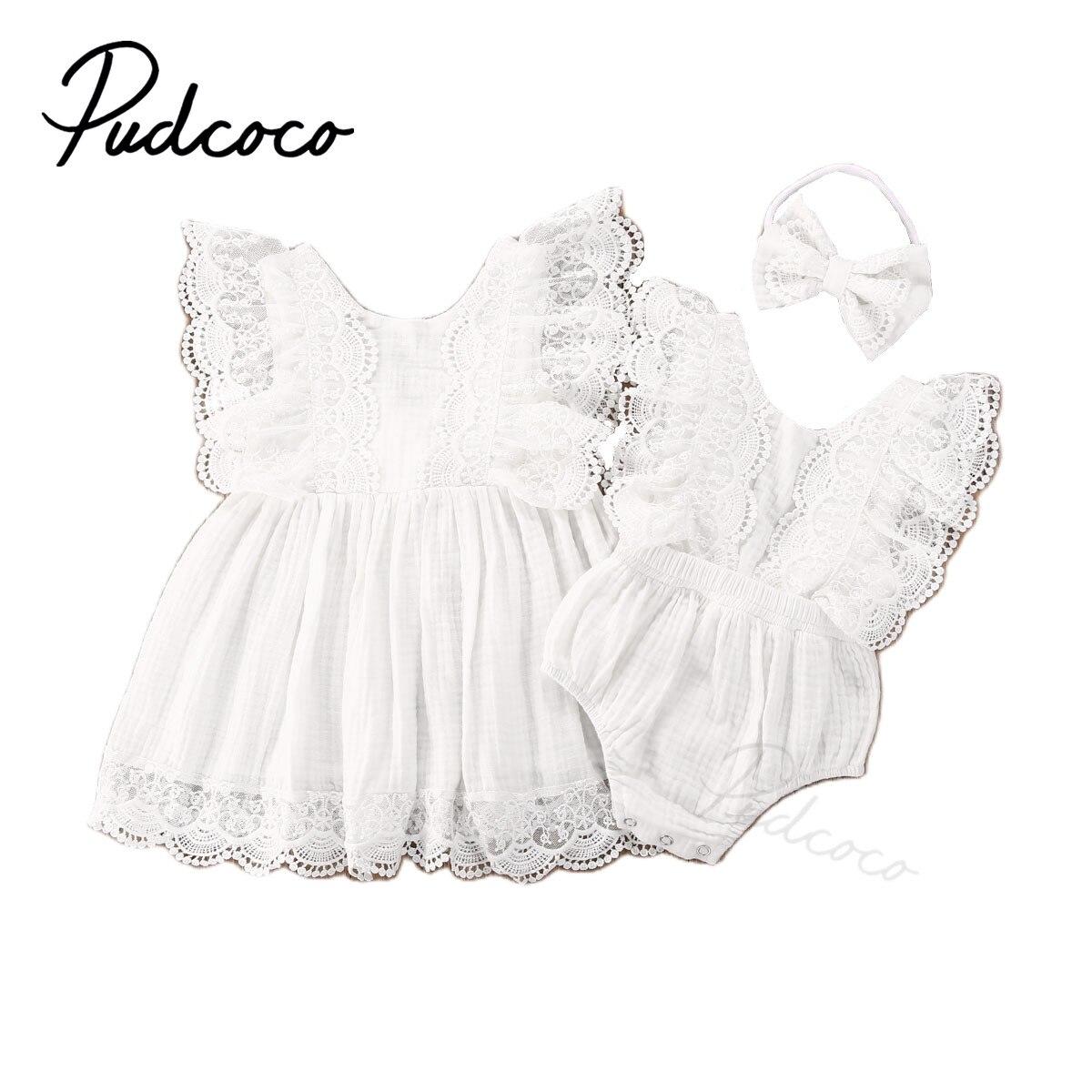 Verão bebê meninas sólido laço branco sem mangas macacão vestido irmã correspondência recém-nascido do bebê meninas roupas casuais