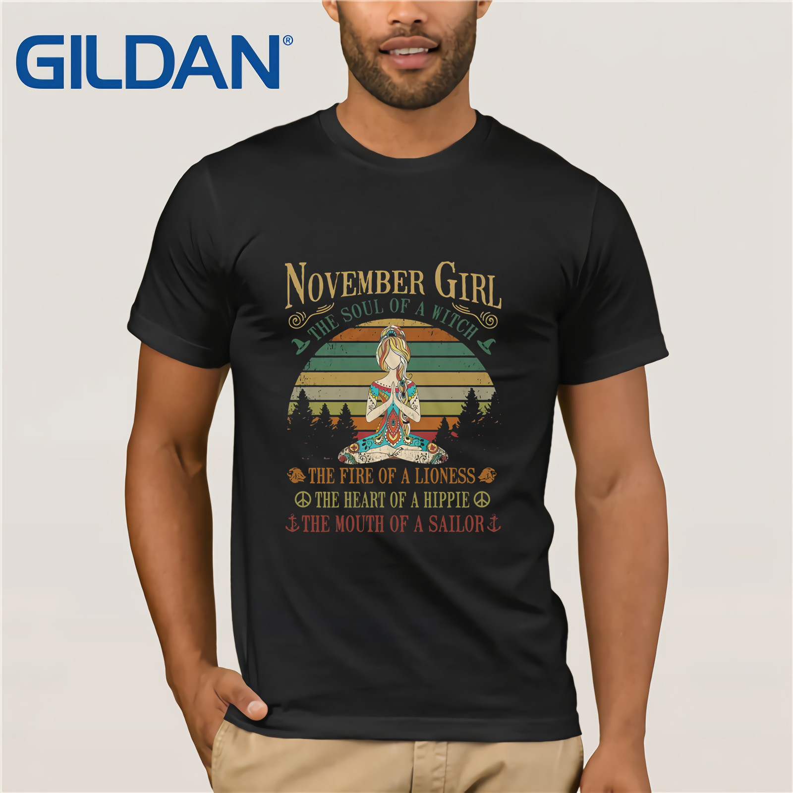 November Girl The Soul Of A Witch The Fire Of A Lioness The Heart Of A Hippie Yoga Girl T-SHIRT