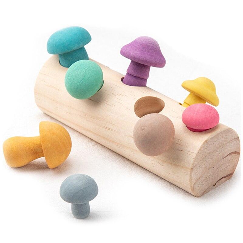 Ahşap gökkuşağı blokları mantar toplama oyunu Montessori eğitici ahşap bebek oyuncakları gelişim şekil eşleştirme montaj kavrama
