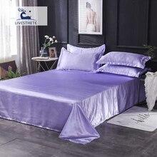 Liv-Esthete Light Purple Flat Sheet Luxury 1PCS 100% Silk Bed Linen Euro Double Queen Decoration Single Silky Adult