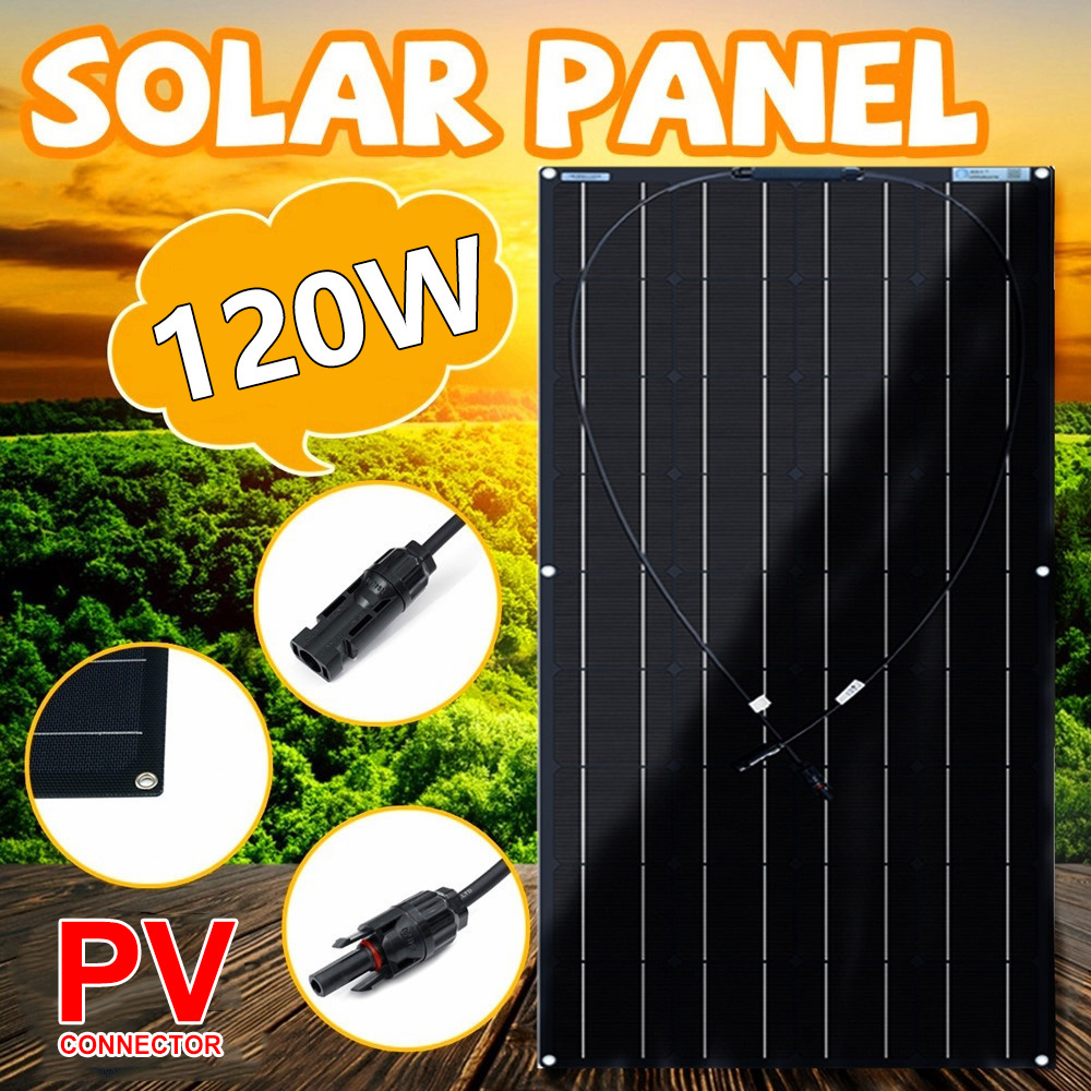 XINPUGUANG 1pc 2pcs 18v 120W Black Flexible <font><b>Solar</b></font> <font><b>Panel</b></font> Monocrystalline Silicon High Conversion Rate For Camping&Caravan&RV&Boat image