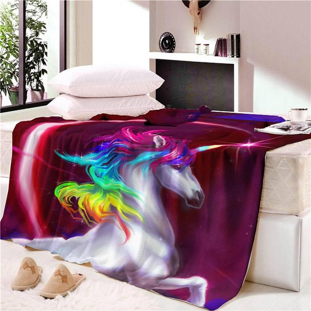 Unicorn Blanket Cover Rainbow Horse Sofa Blanket And Throw Sherpa Winter Warm Faux Fur Blanket