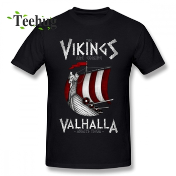 Hipster Vikings Are Coming Boat T Shirt For Male Geek Top Design Boy Round Collar Homme Tee 100% Cotton Short-sleeved - discount item  42% OFF Tops & Tees