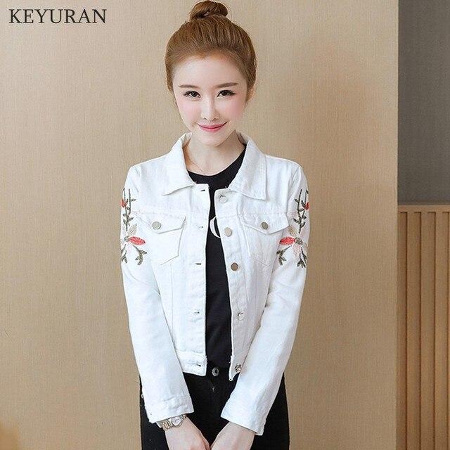 Korean Slim White Red Denim Jacket Women Embroidered Long Sleeve Coat Female Spring Cropped Jean Jackets Plus Size Manteau Femme 2