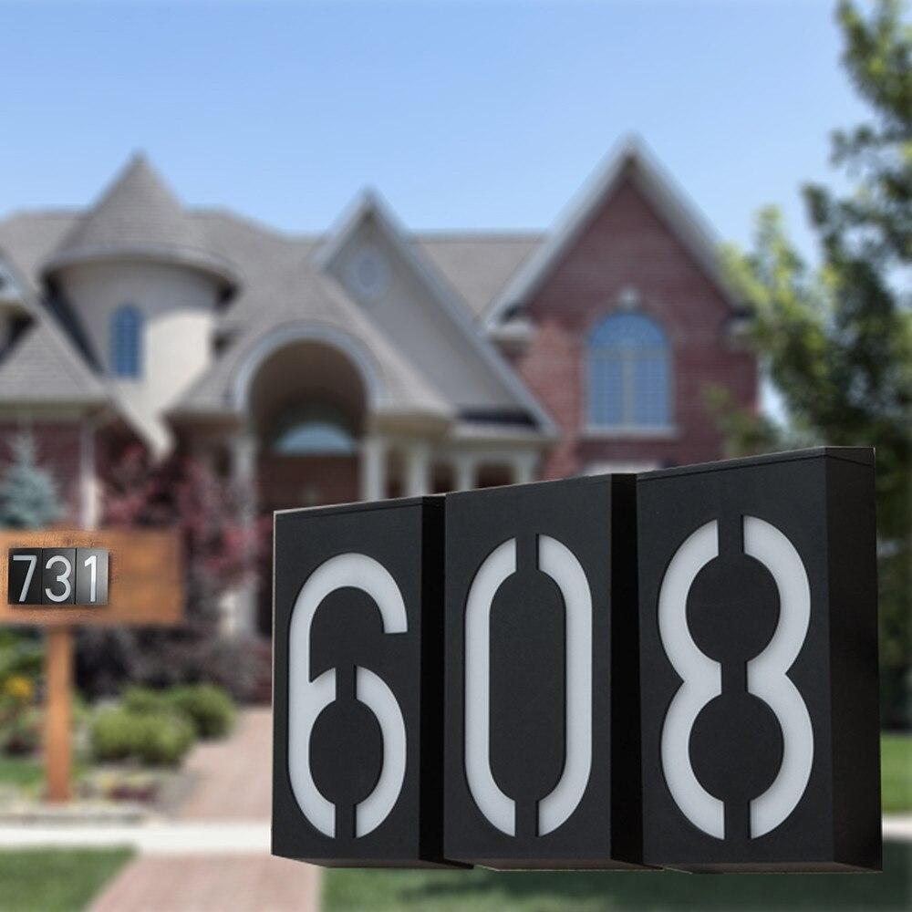 LED Solar Powered House Address Number Doorplate Light Wall Sense Lamp Door Sign