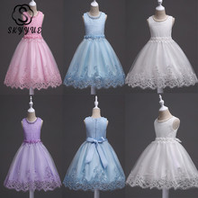 Skyyue Flower Girl Dresses Appliques Beading Fashion Communion Gowns O-Neck Sleeveless Kids Party Girls Pageant 981
