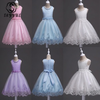 Skyyue Flower Girl Dresses Appliques Beading Fashion Communion Gowns O-Neck Sleeveless Kids Party Girls Pageant Dresses 981 white cheap flower girls dresses scoop neck girls pageant dresses organza beads kids party gowns 2019