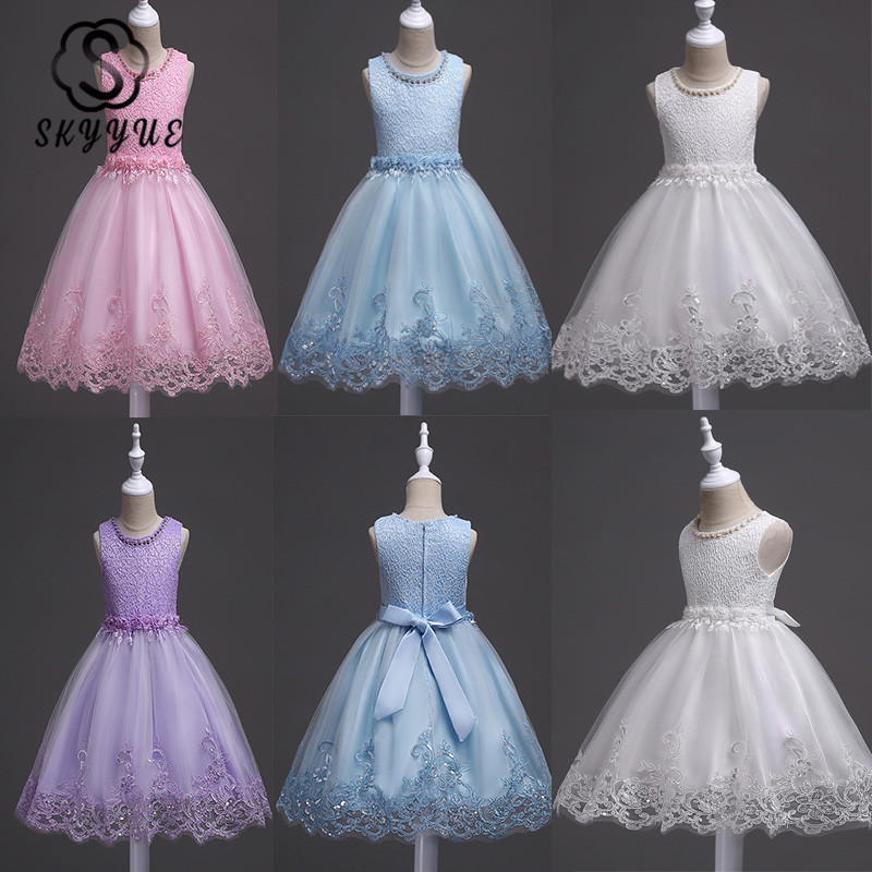 Skyyue   Flower     Girl     Dresses   Appliques Beading Fashion Communion Gowns O-Neck Sleeveless Kids Party   Girls   Pageant   Dresses   981
