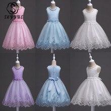 Skyyue vestidos da menina de flor apliques beading moda comunhão vestidos o pescoço sem mangas crianças festa meninas pageant vestidos 981