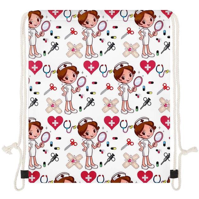 THIKIN Cartoon infirmière filles impression sac à cordon enfants sacs à dos pour adolescente fille Logo personnalisé sac voyage femmes sac à dos