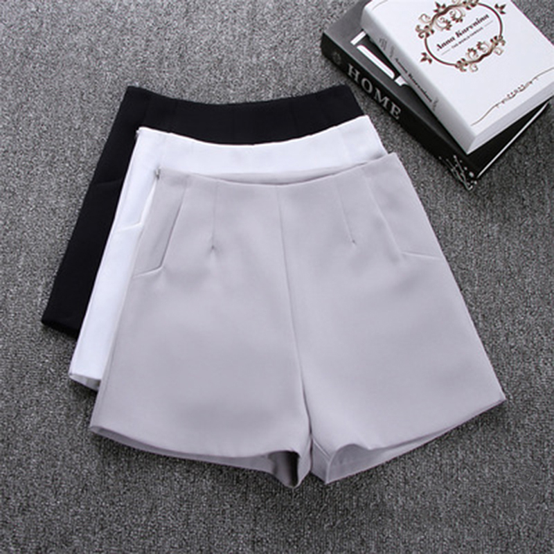 GAOKE 2020 New Women Summer High Waist A-Line Shorts Casual Suit Shorts Women Solid Color Short Pants Ladies Shorts 717408