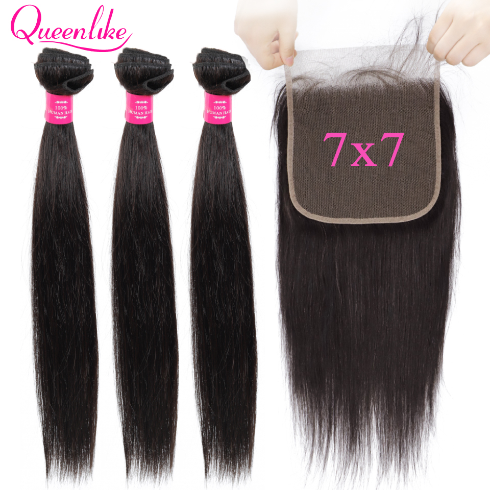 7x7 Lace Closure With Human Hair Bundles Queenlike Non Remy Weaving Big Lace 3 4 Brazilian Straight Hair Bundles With Closure-in 3/4 Bundles with Closure from Hair Extensions & Wigs