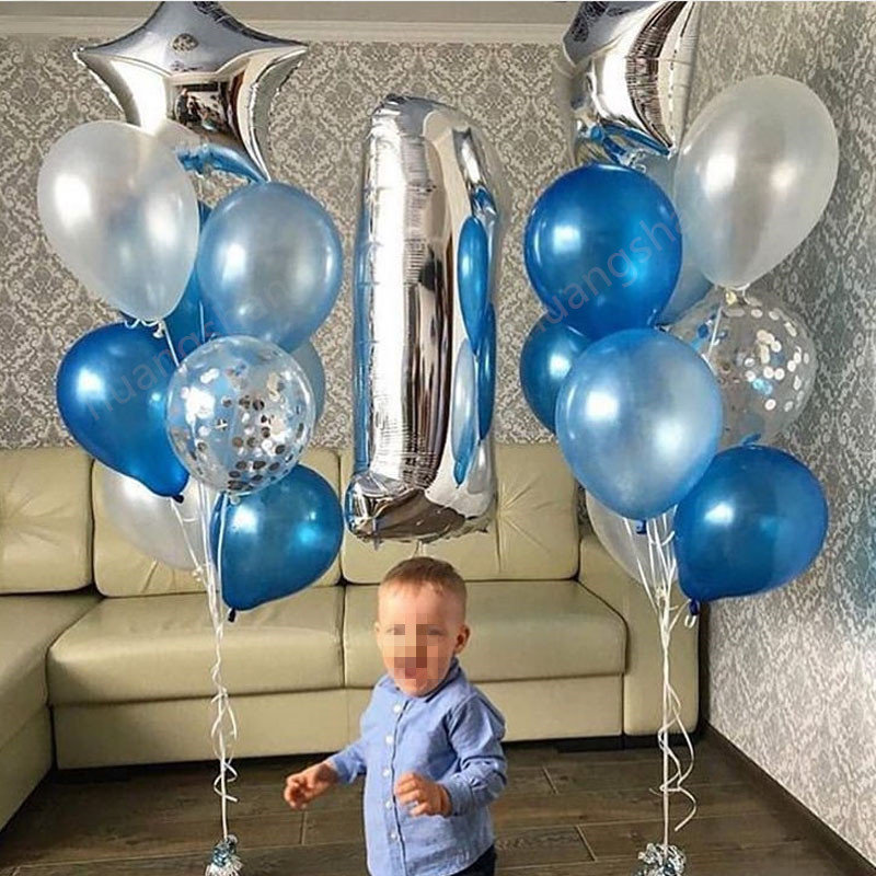 1set 1-<font><b>year</b></font>-old baby <font><b>Happy</b></font> <font><b>Birthday</b></font> Balloon Set boy baby shower party decoration balloon silver number 1 blue white latex ballo image