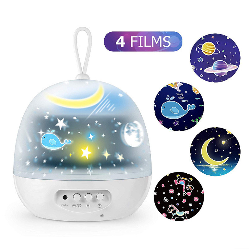 LED Projector Star Moon Night Light Sky Rotating USB Nightlight Lamp For Children Kids Baby Bedroom Nursery Gifts 4 Set Films
