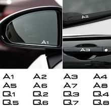Pegatinas de espejo retrovisor para coche, accesorios de decoración reflectantes, para Audi A2, A4, A6, A8, Q2, Q4, Q7, 4 Uds.