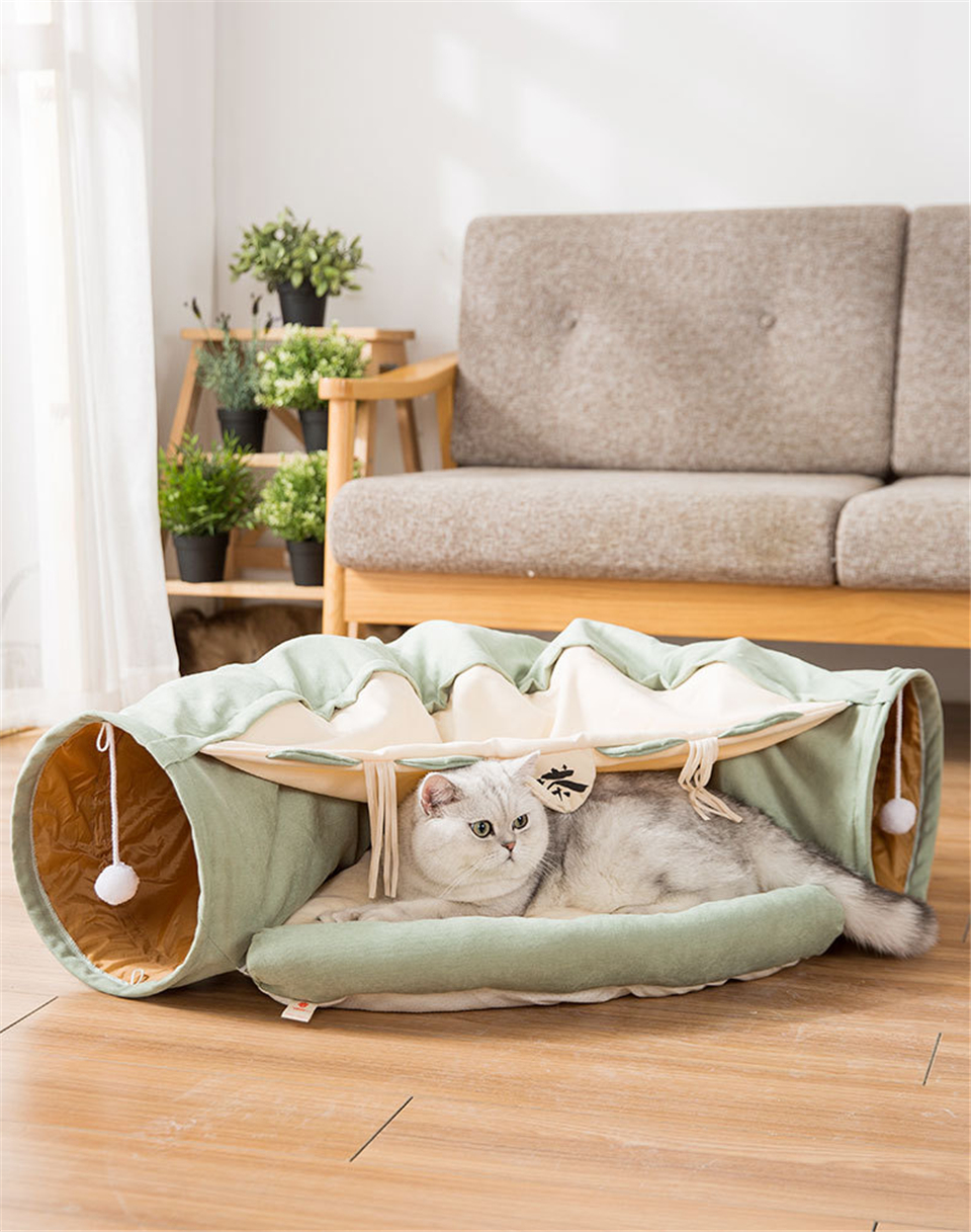 Funny Cat Tunnel bed Collapsible Crinkle Pet tent Kitten Puppy  Ferrets Rabbit interactive Toys 2 holes Tunnel  Pet cat nest 10