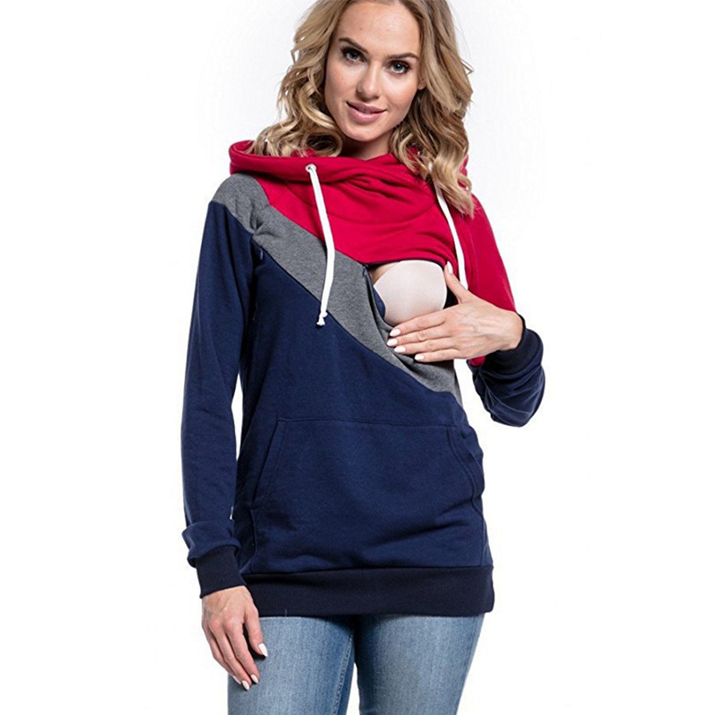 Winter Women's Nursing Hoodie Autumn Hoodie Sweatshirt Long Sleeves Mothers Tops Breastfeeding Nursing Pregnant Sweatshirt