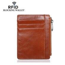 цена на New Men Genuine Leather Zipper Slim Wallet Coin Purse Credit Card Cash Holder Case RFID Blocking Cowhide Luxury Wallet Cards Bag