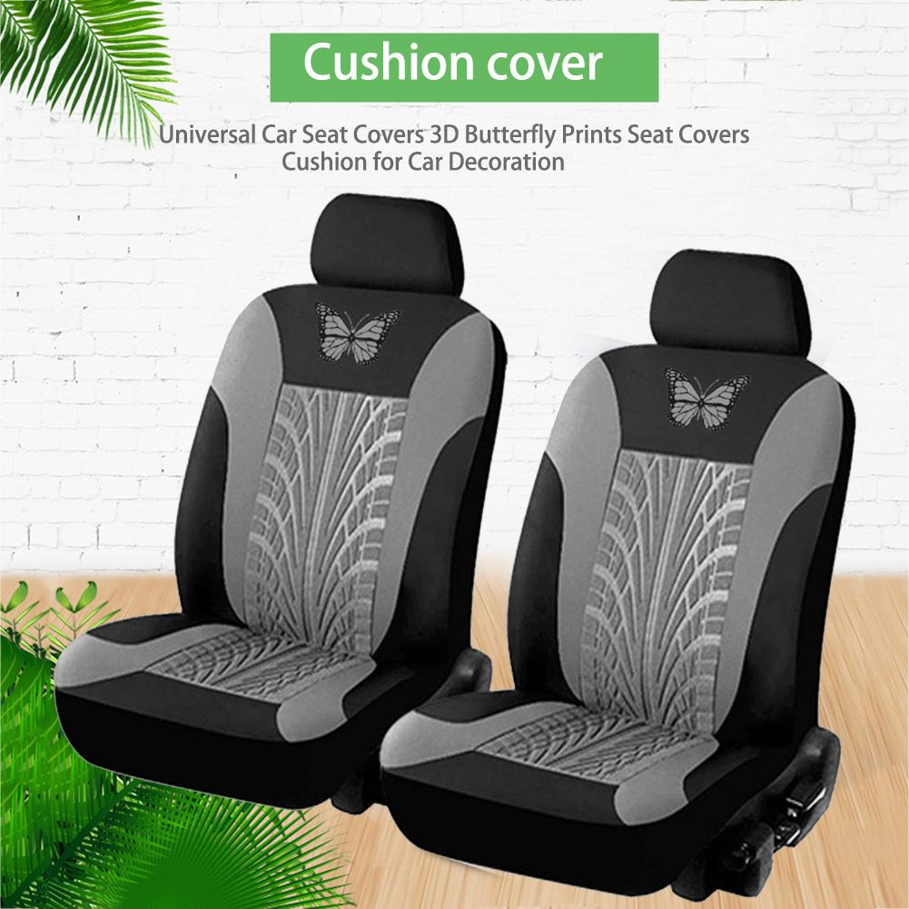 4pcs Set Gray Butterfly Pattern Car Front Seat Covers Protector Cushion Washable Ebay