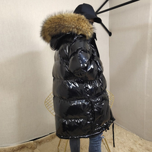 Coats Female Parka Jacket Women Raccoon-Fur-Collar Bright-Leather Natural Winter Outerwear