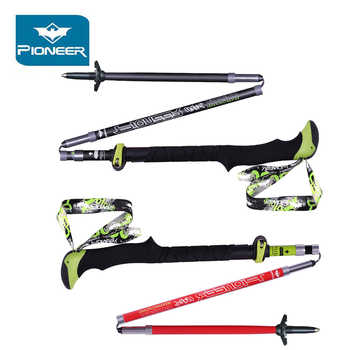 2Pcs/lot Folding Sticks For Nordic Walking Poles Carbon Hiking Ultralight Walking Stick Camp Cane Crutch Pioneer Trekking Poles